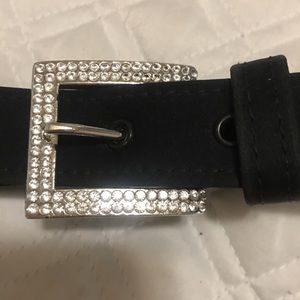 VERSACE SATIN BELT WITH RHINESTONE BUCKLE